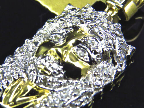 Genuine Diamond 10k Yellow Gold Mini Micro Jesus Piece Pendant Charm .25Ct 1/""