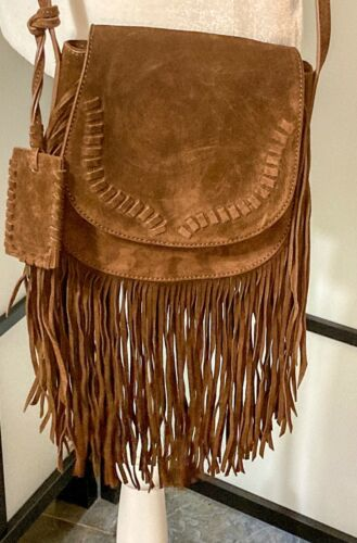 Polo Ralph Lauren Brown Suede Fringe Crossbody Sho