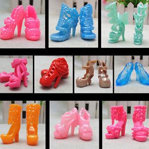 PT-10-Pairs-Diverse-Tacco-Scarpe-Stivali-per-Bambola-Barbie-Abiti-Abbigliamen