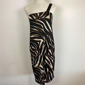 MNG-Suit-Women-039-s-Animal-Print-One-Shoulder-Drop-Waist-Dress-Size-S-A18