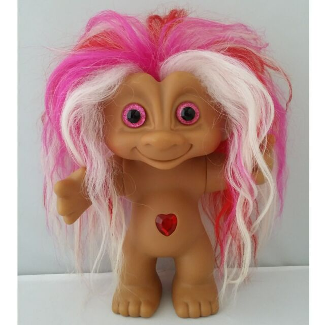 Vintage 1990s Ace Troll Doll Pink Red White Mohair Gl Eyes Large Trolls