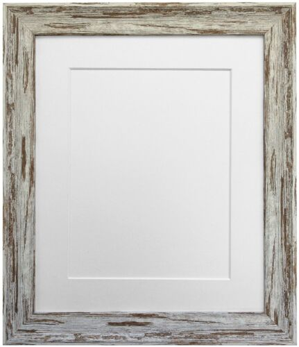 Distressed Industrial Dark Brown Wash Photo Picture Frame with Coloured Mounts