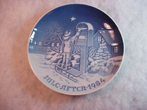 """1984 Bing & Grondahl 7"""" Christmas The Letter Collector Display Plate C-219"""