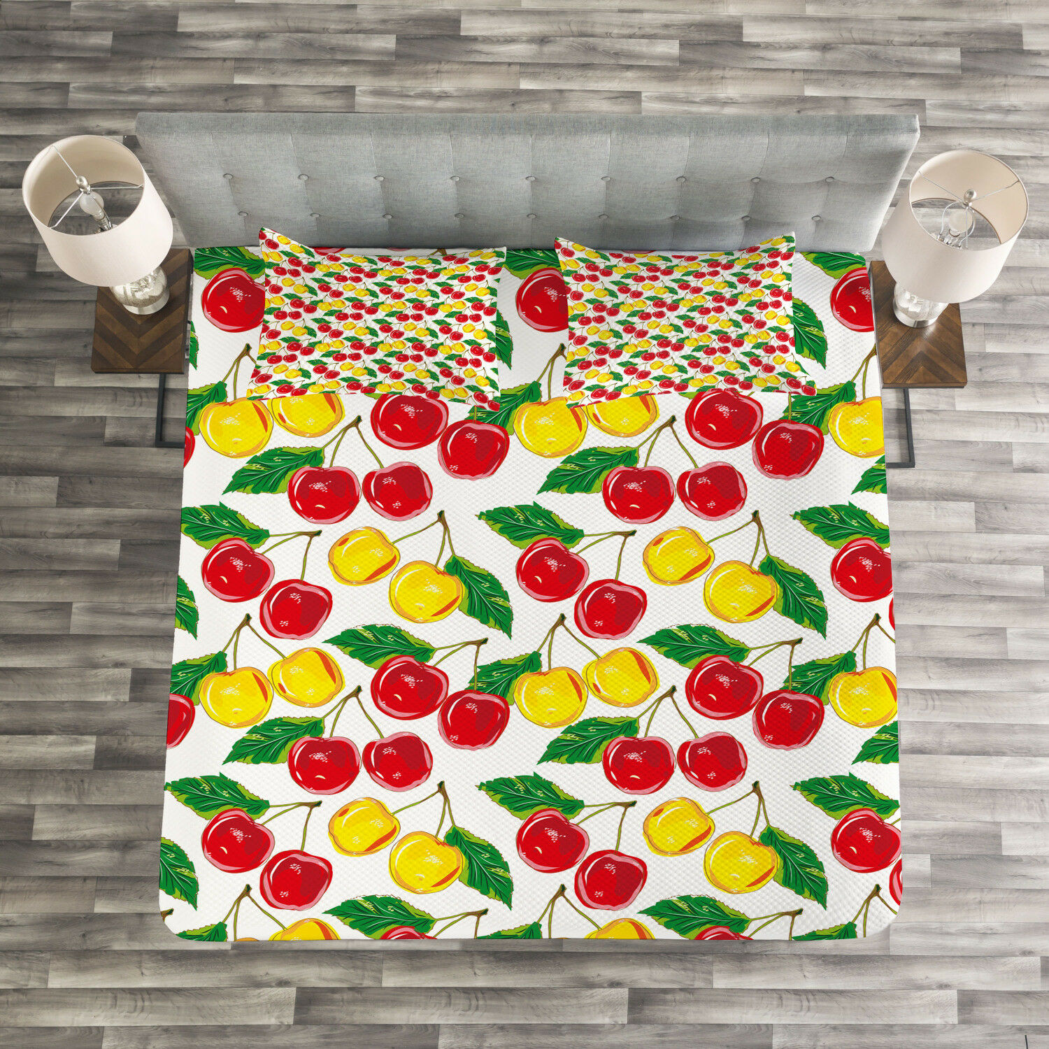 Fruit Quilted Bedspread & Pillow Shams Set, Graphic colord Cherries Print