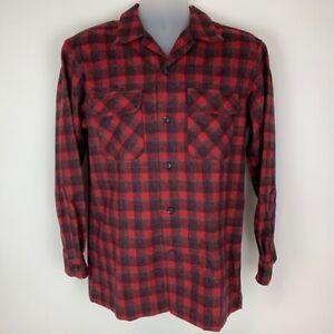 New-Pendleton-Mens-Small-Button-Front-Shirt-Red-Plaid-Original-Board-Shirt