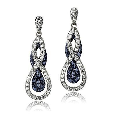 0.25ct TDW Blue & White Diamond Intertwining Infinity Dangle Earrings in Brass