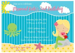 Image Is Loading Mermaid Invitation Under The Sea Kids Birthday Party