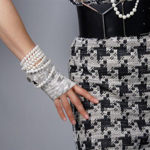 100/% REAL LEATHER Tech Gloves Fingerless Short Black Wristlet Animal Print