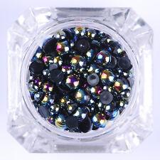 BORN PRETTY Chameleon Pearl Beads 3D Nail Art Decoration White Black Flat Bottom