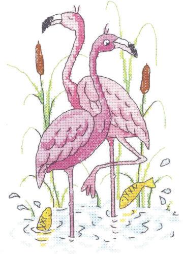 Flamingos Heritage Crafts Cross Stitch Kit