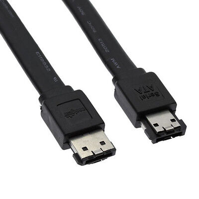 2 PACK NEW 1.5FT eSATA to eSATA 7-Pin Shielded External Data Cable Cord Black