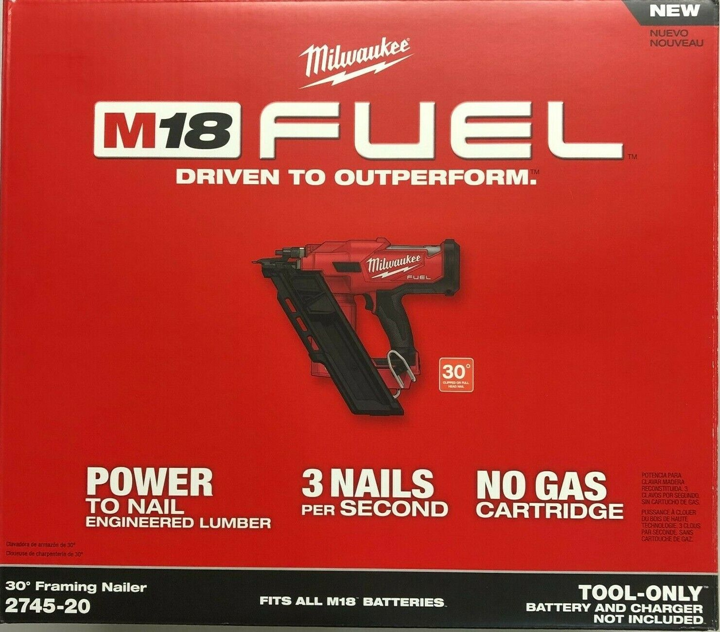 Milwaukee 2745-20 M18 Fuel 30 degree Strip Cordless Framing Nailer (bare) NEW. Buy it now for 369.00