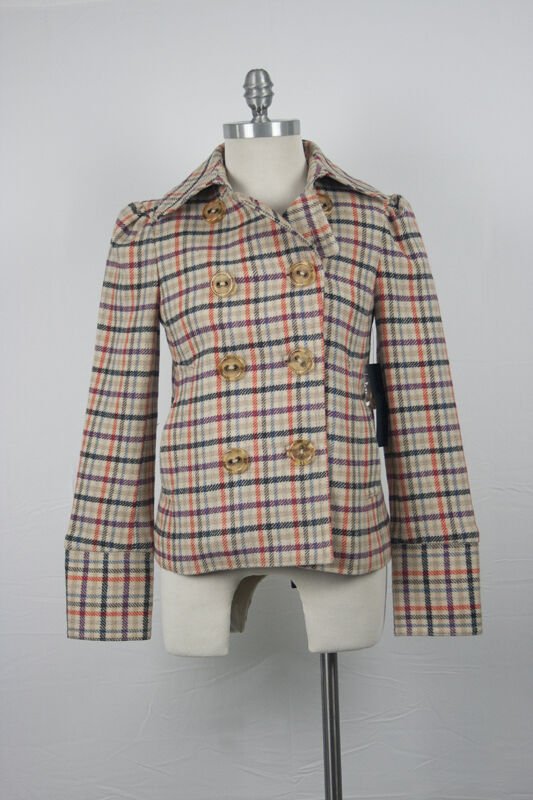 7ece05ecfa32 ... NWT 500 Marc Jacobs Classic Plaid Wool Coat Preppy Vintage Size Small  d414a7