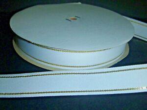 Below Wholesale Ribbon 7 8 Inches Wide White Gold Metallic 50 Yards Ebay