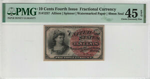 10-CENT-FOURTH-ISSUE-FR-1257-POSTAL-FRACTIONAL-CURRENCY-PMG-CHOICE-XF-EF-45-EPQ