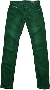 Herrlicher-pour-Femme-Jean-Pantalon-Taille-26-34-Vert-Etroit-Eclair-Veritable