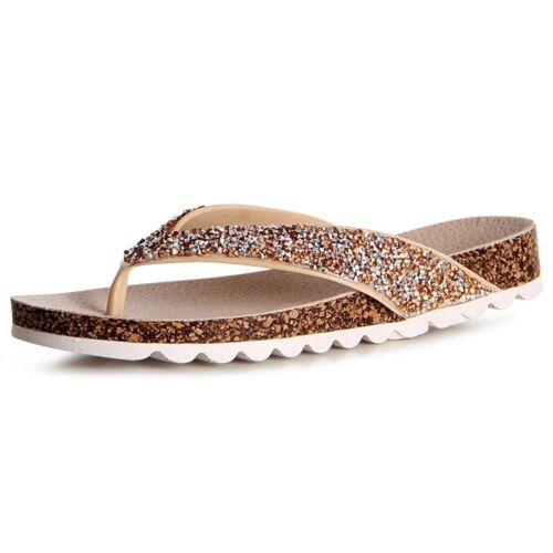 Damen Glitzer Sandalen Zehentrenner Sandaletten