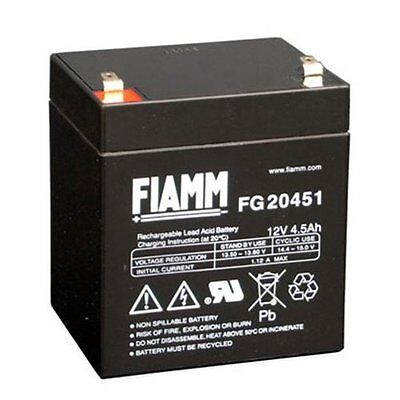 Batteria Fiamm Fg20451 12v 4.5a Piombo Gel Ermetica 4,5ah Ricaricabile 13,8v 4.8 Tempi Puntuali