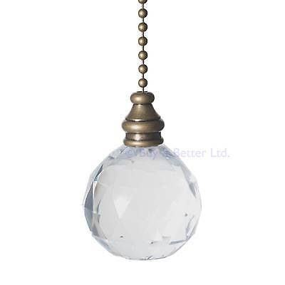 Light Pull Chain Cord Antique Brass And Clear Acrylic Crystal Ball With Chain