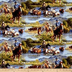 Wild-Wings-Scenics-Ranchero-Horse-riding-100-cotton-fabric-by-the-yard