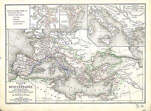 Bassin-de-la-Mediterranee-Mediterranean-Basin-Plan-Rome-MAP-CARTE-ATLAS-1882
