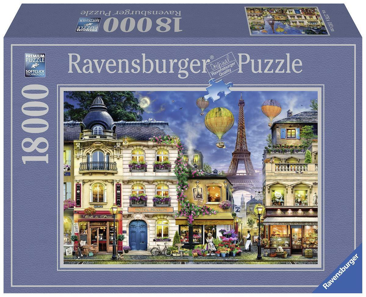 Ravensburger  Puzzle  18000 pièces  soir Promenade dans Paris  Neuf dans sa boîte