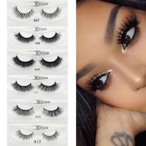 1 Pair 3d Real 3d Mink Soft Long Natural Makeup Eye Lashes Thick