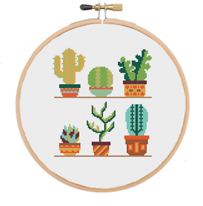 Cactus Flower Cross Stitch Pattern Modern Flower Floral Cross Stitch Pattern