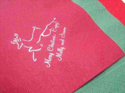 3 plis Dîner Serviettes 50 X Personnalisé Noël Serviettes