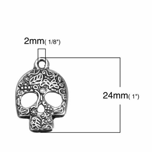 20 Or 50PCs Sugar Skull Charms 24mm Day Of The Dead Calavera Pendants C3033-10