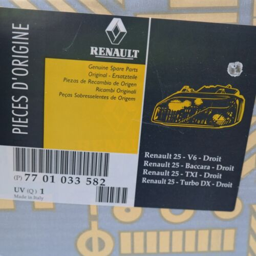 Renault 25 V6 Baccara Turbo Dx optique projecteur Renault origine 7701033582