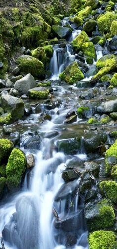 Türtapete Waterfall türposter Self Adhesive Natural Stones Moss River 1176tp