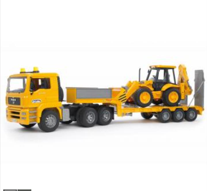 Bruder Série Professionnelle homme TGA  Faible Loader Camion avec JCB MIDI CX tracto pelle 02776  acheter une marque