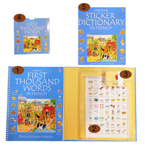 Learn-French-words-book-flash-cards-dictionary-sticker-book-pack-from-Usborne
