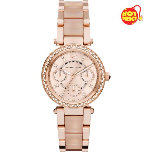 Michael Kors 33mm Ladies Mini Parker Rose Gold MK6110 Chronograph Two Tone Watch
