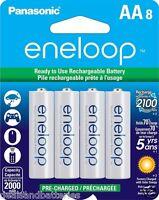 8 Panasonic Eneloop Aa 2100 Cycles Bk-3mcca8ba Ni-mh Rechargeable Batteries