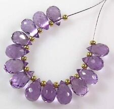 14 GENUINE LILAC BRAZILIAN AMETHYST FACETED DROP BRIOLETTE BEADS 6-7 mm  B19