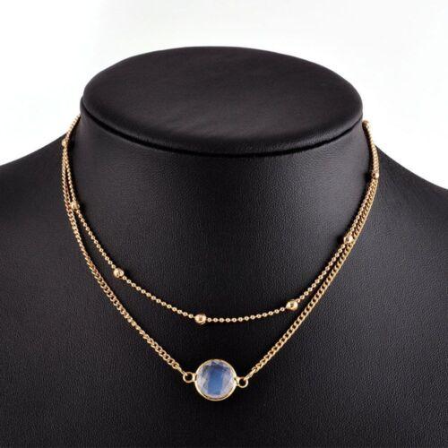 Nature Stone Charm Fashion Crystal Glamorous Necklace Pendant 2 Layer Choker