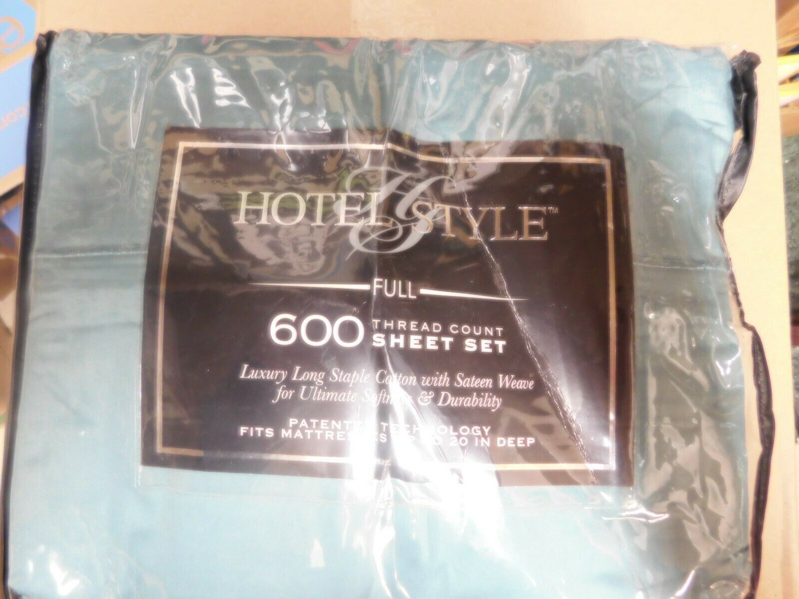 Hotel Style 600-Thread-Count Full Solid color Sheet Set-Teal Silk