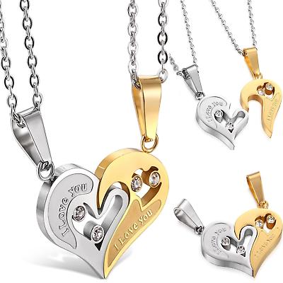 663d50b5be Jstyle Stainless Steel Men Women Couple Necklace Friendship Puzzle CZ Love  Va .