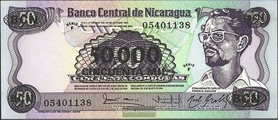 148 Bankfrisch 1987 50.000 Córdobas On 50 Córdobas In Many Styles Candid Nicaragua Pick-number Coins & Paper Money