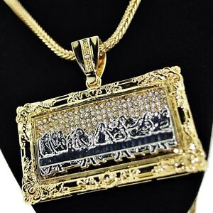 The last supper rectangular pendant chain iced out gold tone 36 image is loading the last supper rectangular pendant chain iced out aloadofball Image collections