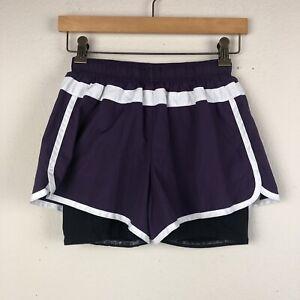 Athleta Purple White Trim Xs Floral Hana Doublé Jogging Fermeture Éclair Shorts M33-afficher Le Titre D'origine Cadeau IdéAl Pour Toutes Les Occasions