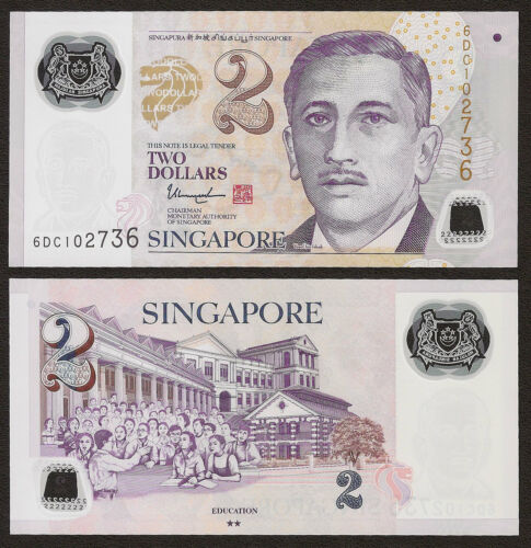 SINGAPORE 2 Dollars w//2 Solid Star 2017 P-46 Polumer UNC Uncirculated