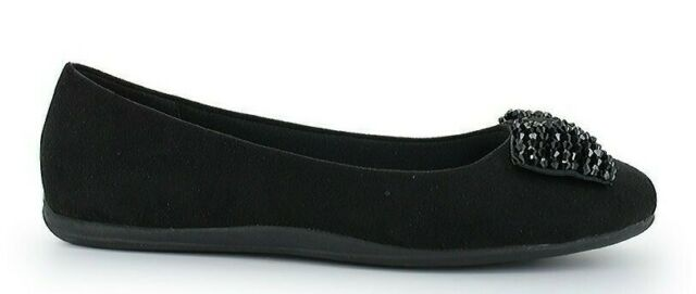 ballet flats womens SHOES size 12 black  BEADED bow accent