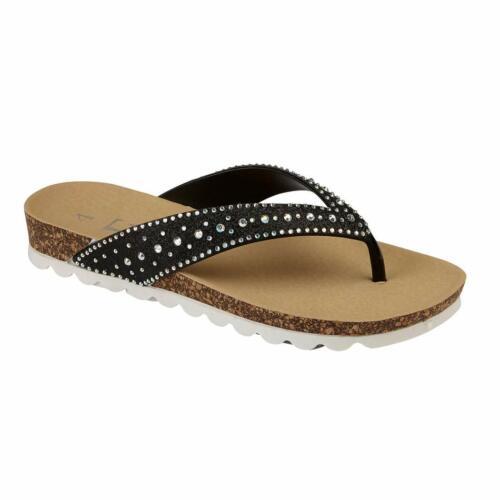 Nuevas señoras para mujer Ojotas Playa Verano Toe Post Sandalias zapatos de chicas Brillo