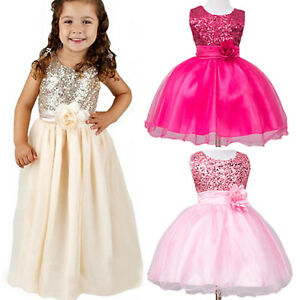 eecb6cbc9 Image is loading Girls-Kids-Flower-Party-Sequins-Princess-Dress-Wedding-