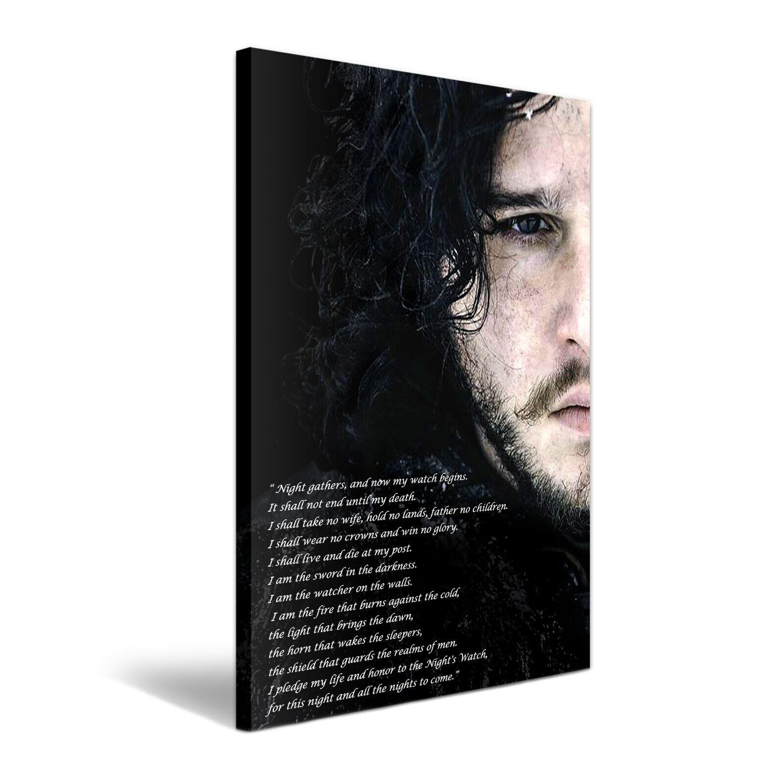 Spiel Of Thrones Jon Snow Night's Watch Vow Stretched Canvas  More Größe