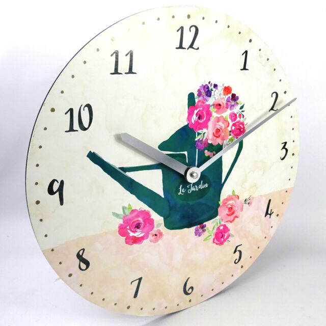 Watering Can Flowers Garden Wall Clock Kitchen, Large, 34cm, Rustic Look, AA