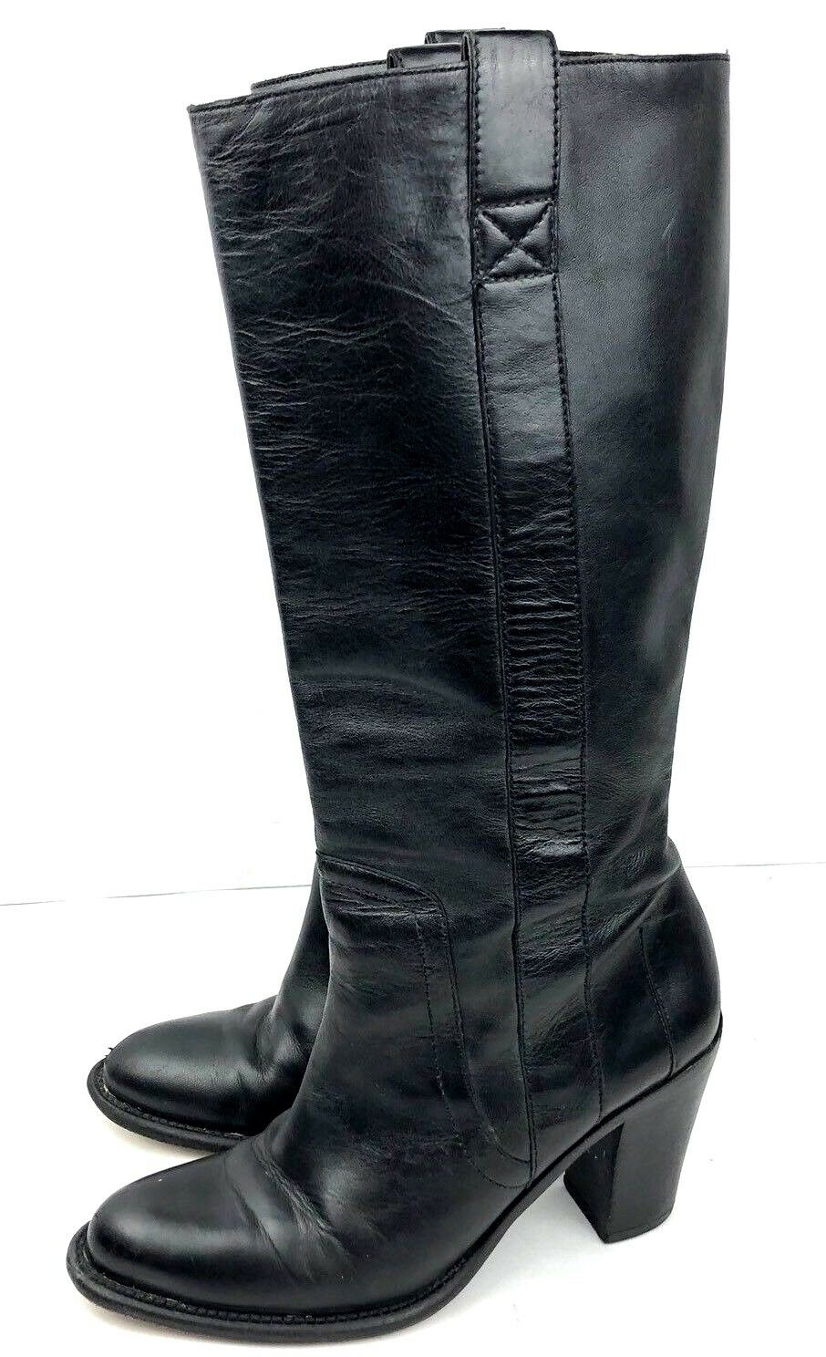 Banana Republic Women Knee High Boot Size 6 M Black Leather High Heel Boot